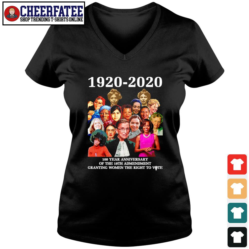 1920 2020 100 year anniversary of the 19th amendment granting women the right to vote s v-neck t-shirt