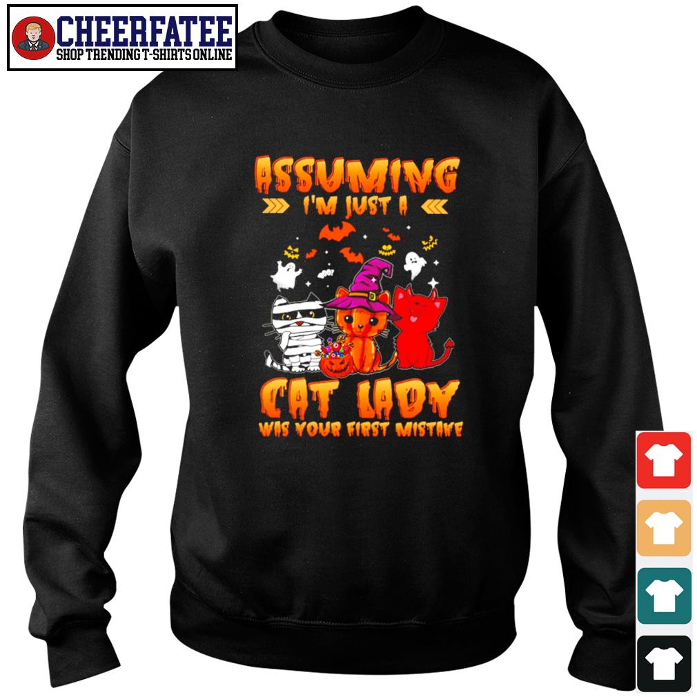 Assuming I'm just a cat lady was your first mistake halloween s sweater