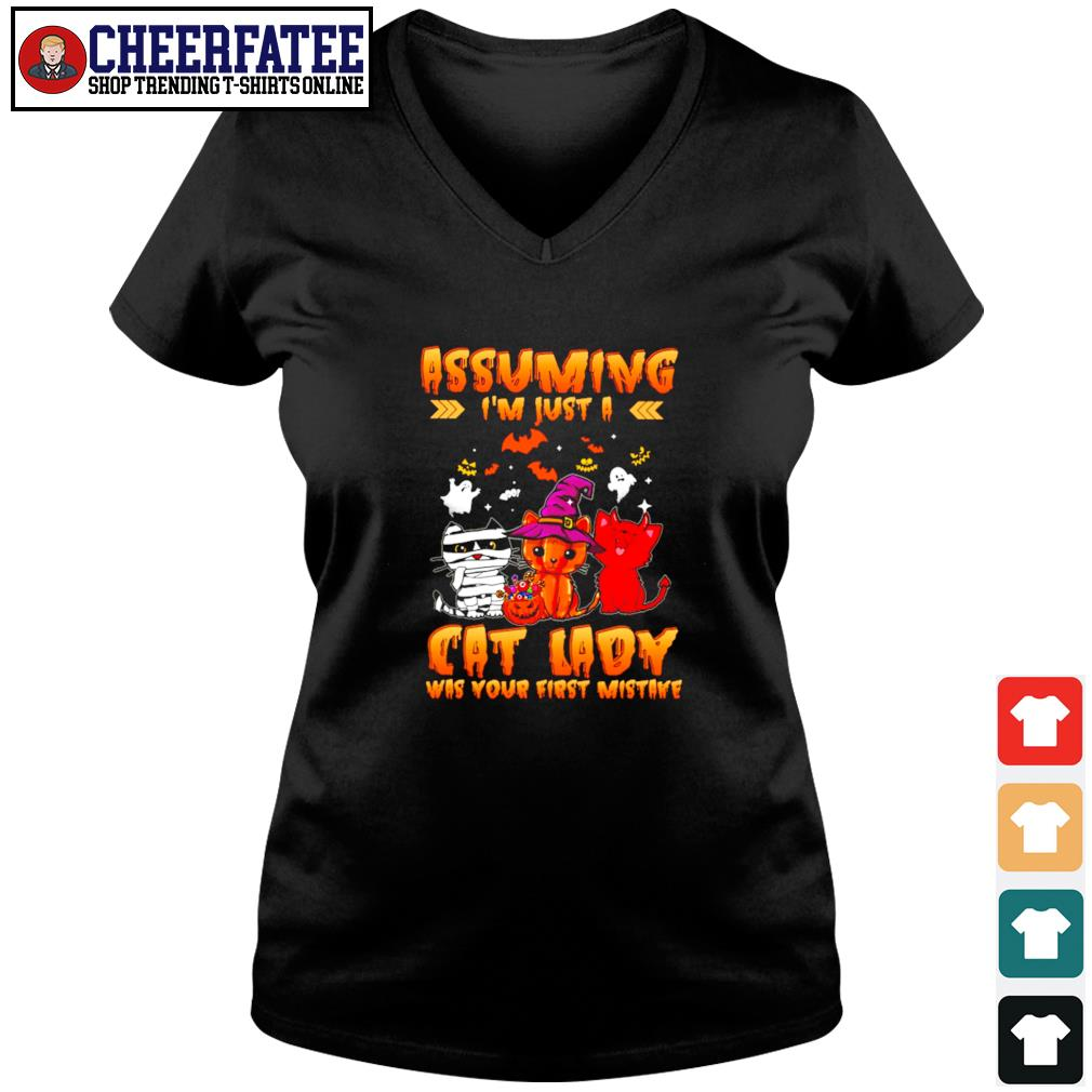 Assuming I'm just a cat lady was your first mistake halloween s v-neck t-shirt