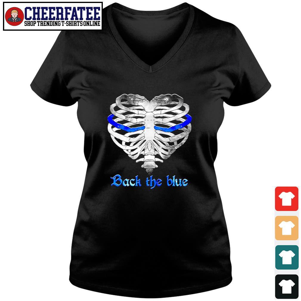 Back the blue heart skeleton s v-neck t-shirt