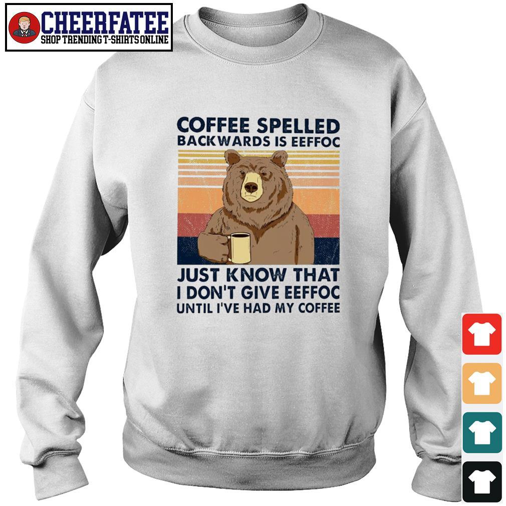 Bear coffee spelled backwards is eeffoc vintage s sweater
