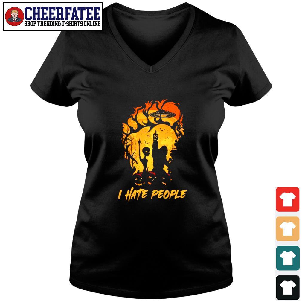Bigfoot UFO alien I hate people s v-neck t-shirt
