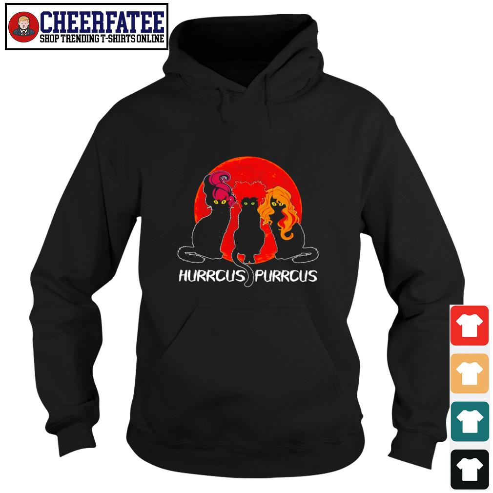Black cat hurrcus purrcus blood moon s hoodie