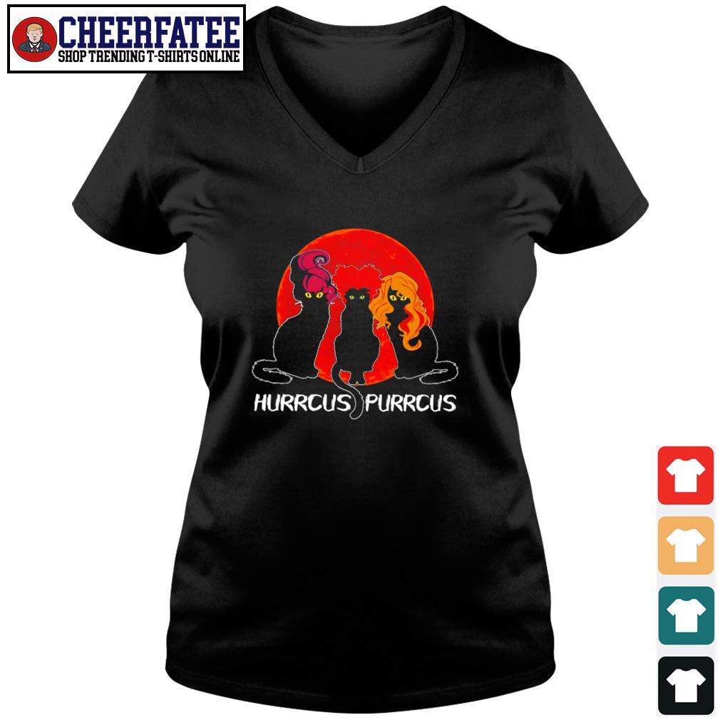 Black cat hurrcus purrcus blood moon s v-neck t-shirt
