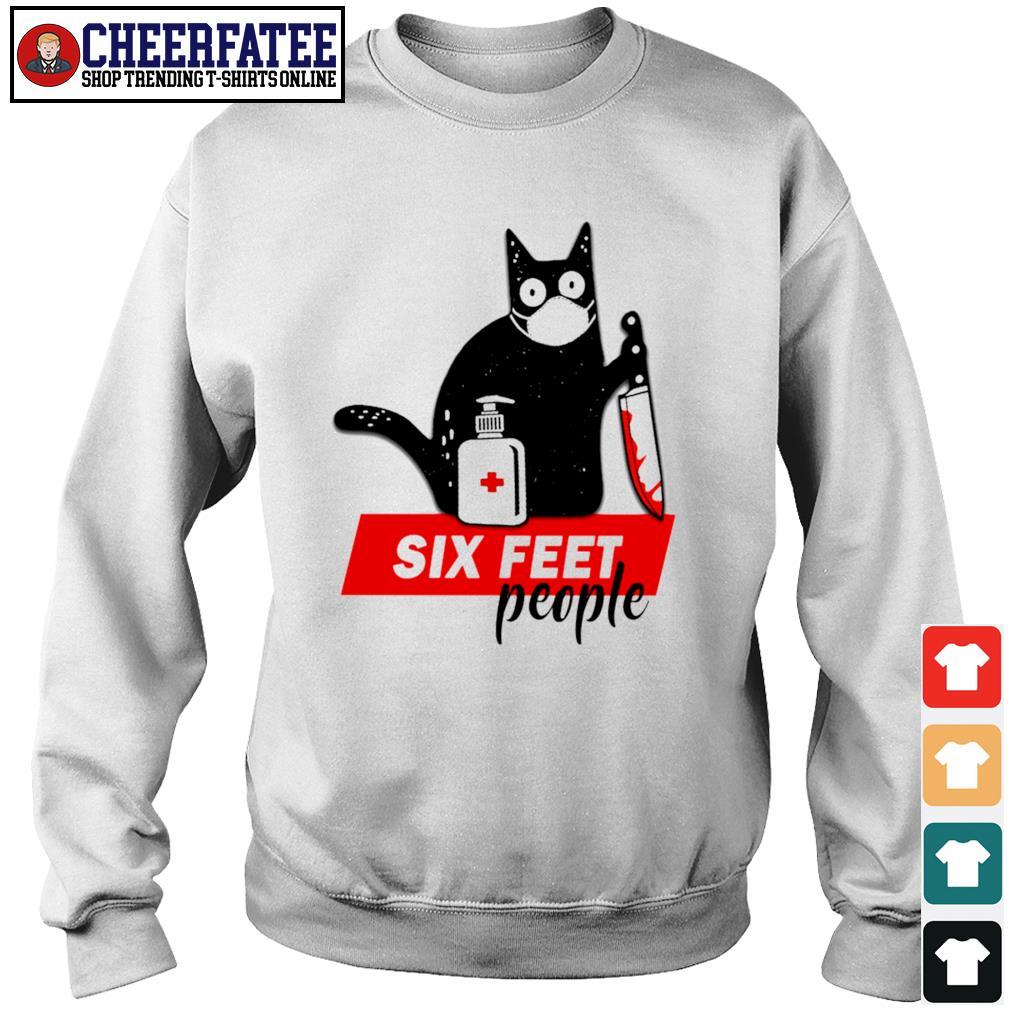 Black cat mask murder six feet people s sweater