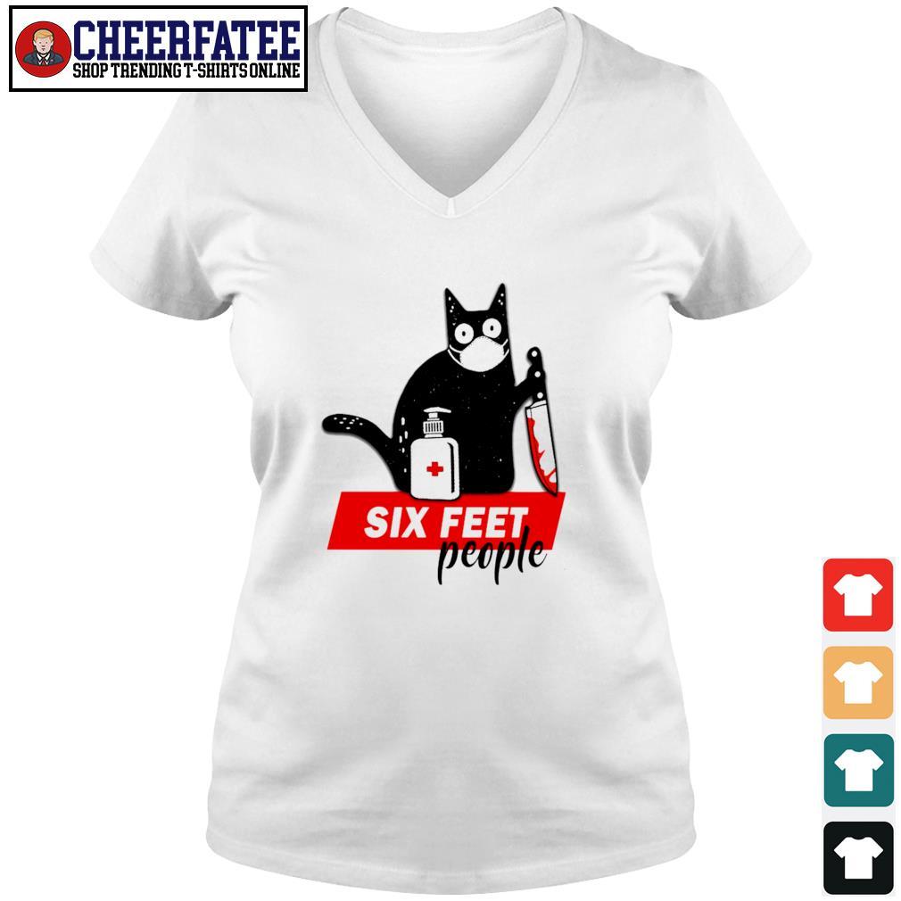 Black cat mask murder six feet people s v-neck t-shirt