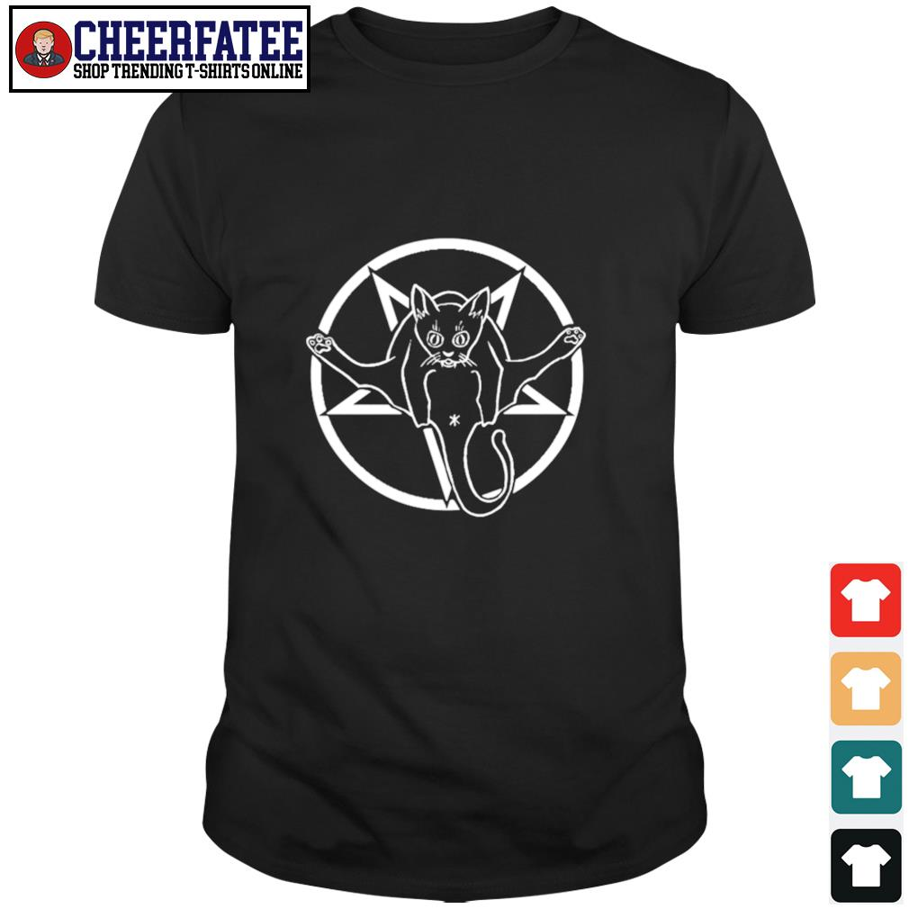 Black cat sigil of baphomet shirt
