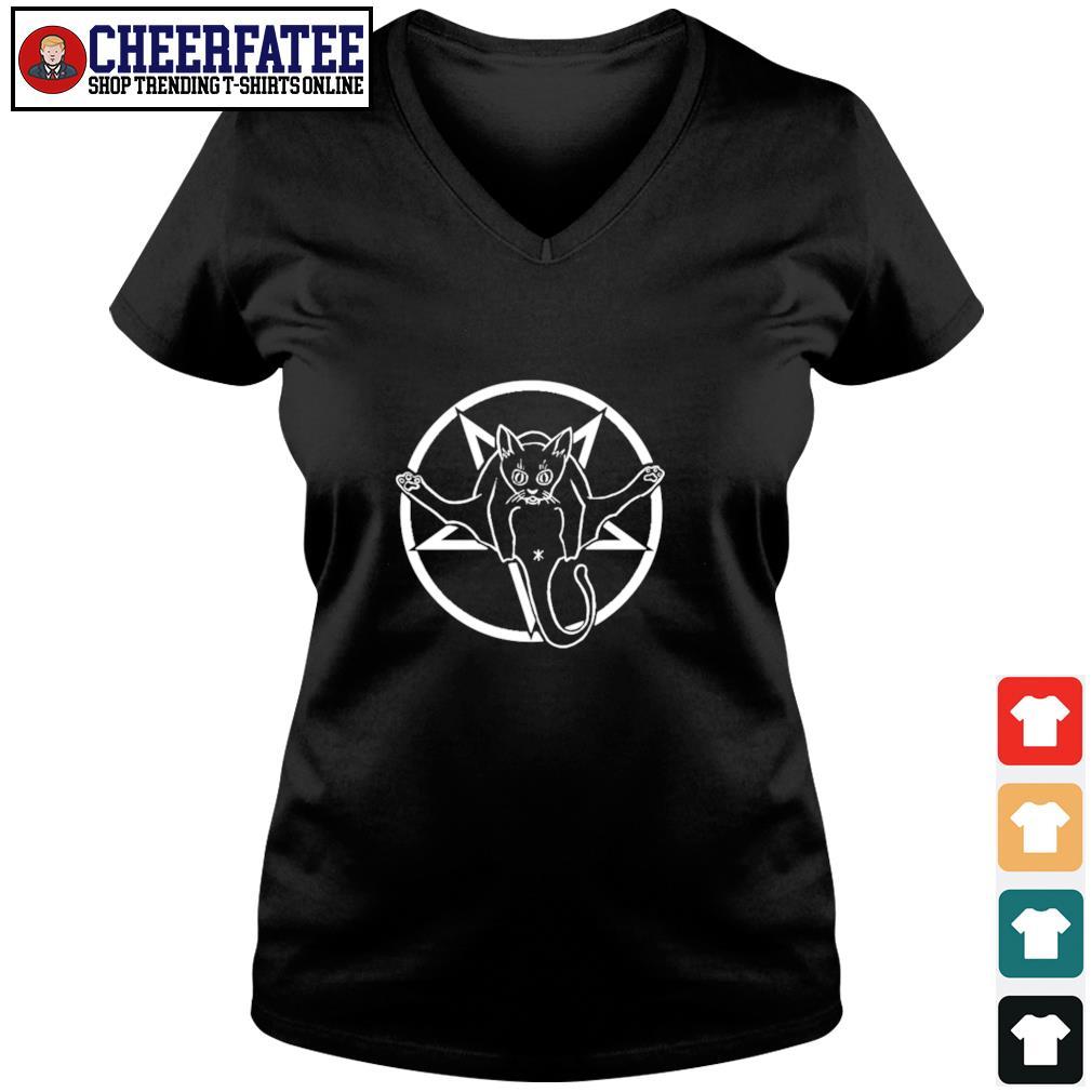 Black cat sigil of baphomet s v-neck t-shirt