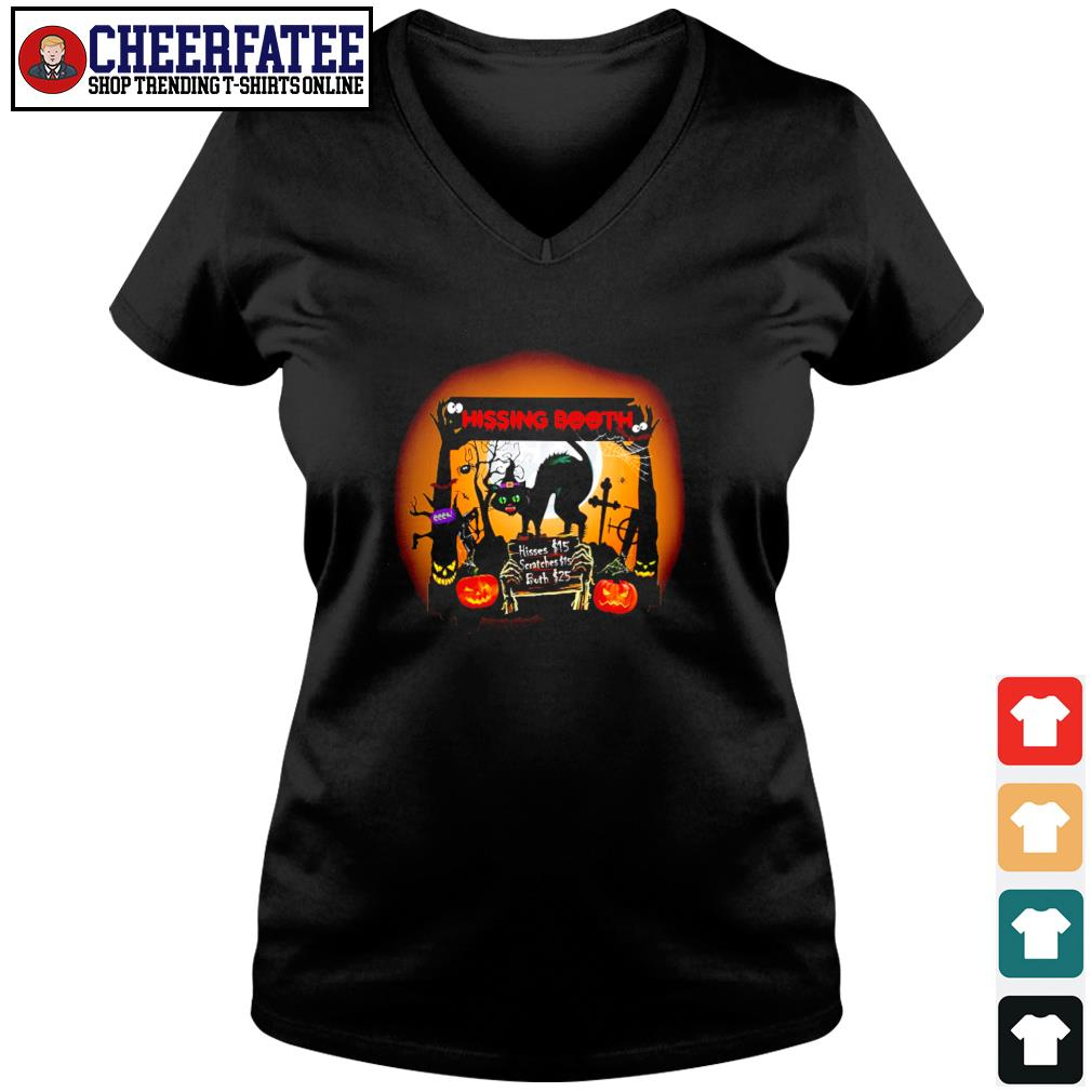 Black cat spooky hissing booth halloween s v-neck t-shirt