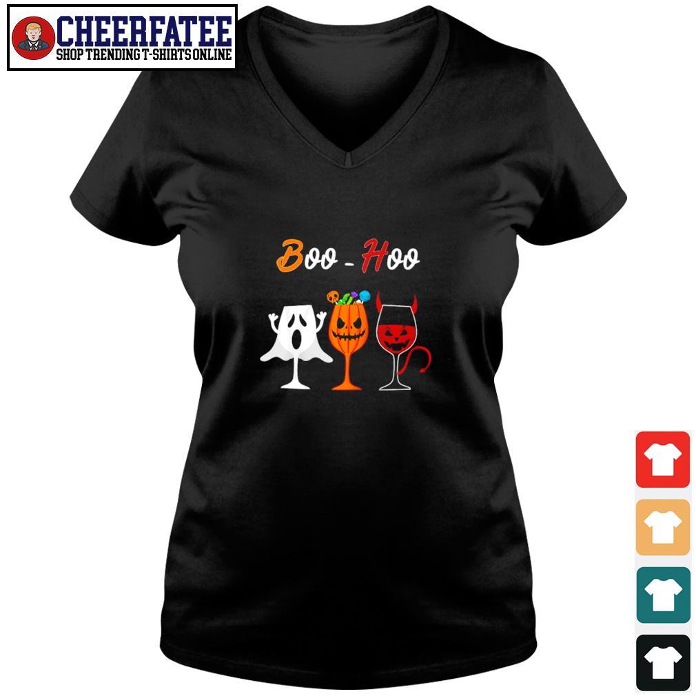 Boohoo ghost pumpkin wine halloween s v-neck t-shirt