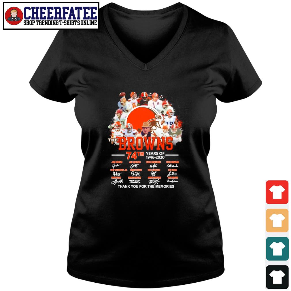Browns 74th years of 1946 2020 thank you for the memories s v-neck t-shirt