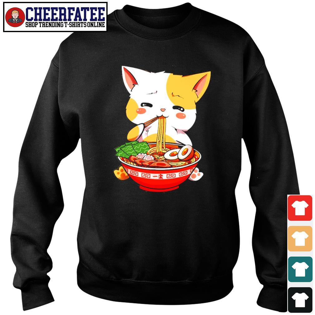 Cat eat ramen few happy s sweater