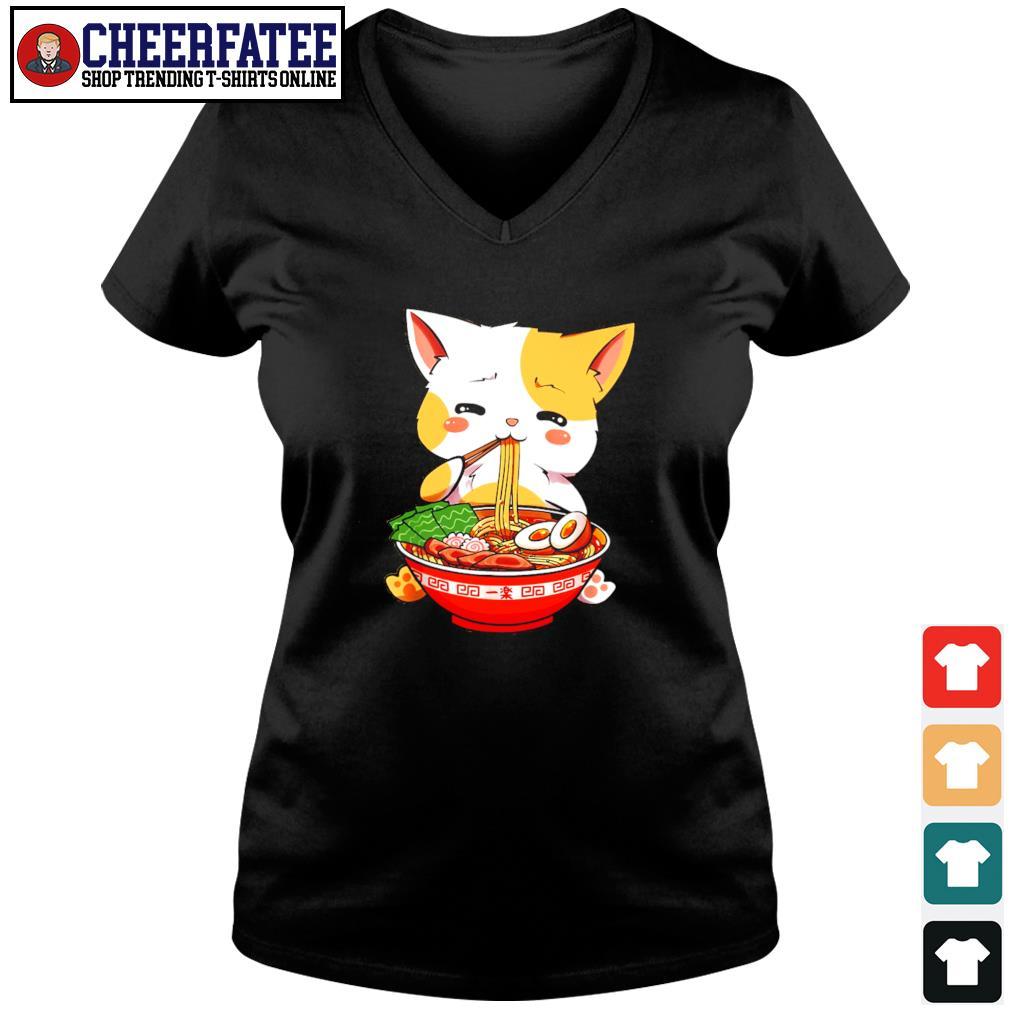 Cat eat ramen few happy s v-neck t-shirt