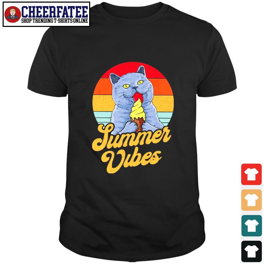 Cat lick cream summer vibes vintage shirt