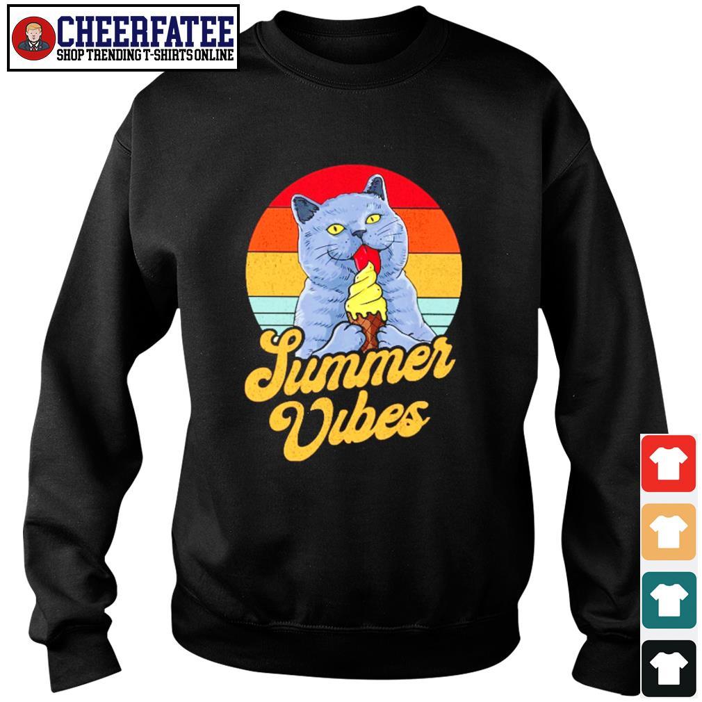 Cat lick cream summer vibes vintage s sweater