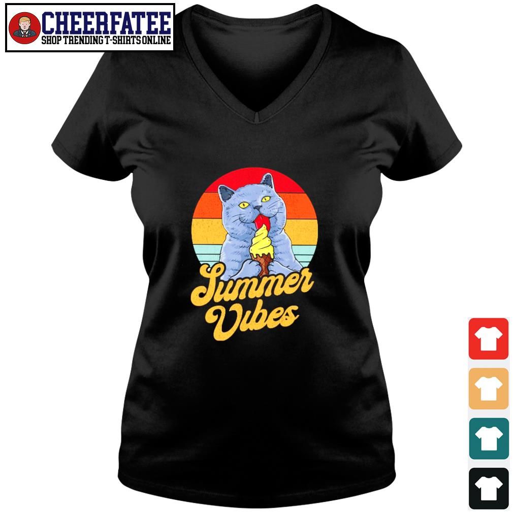 Cat lick cream summer vibes vintage s v-neck t-shirt
