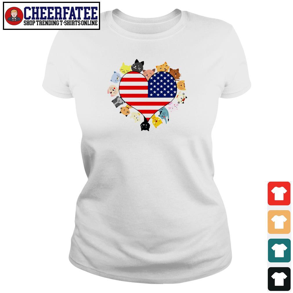 Cat love black live matter american flag s ladies-tee