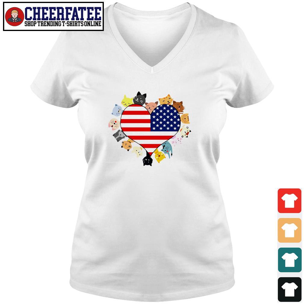 Cat love black live matter american flag s v-neck t-shirt