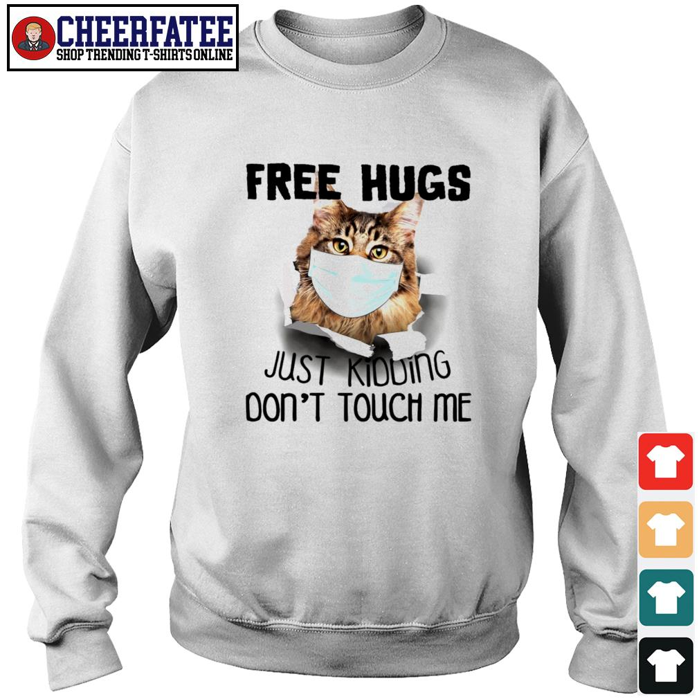 Cat mask free hugs just kidding don't touch me s sweater