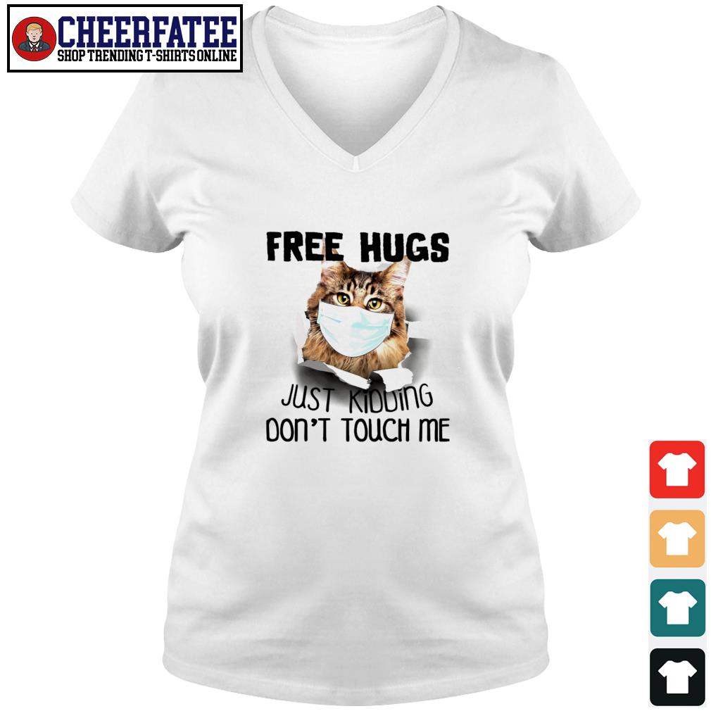 Cat mask free hugs just kidding don't touch me s v-neck t-shirt