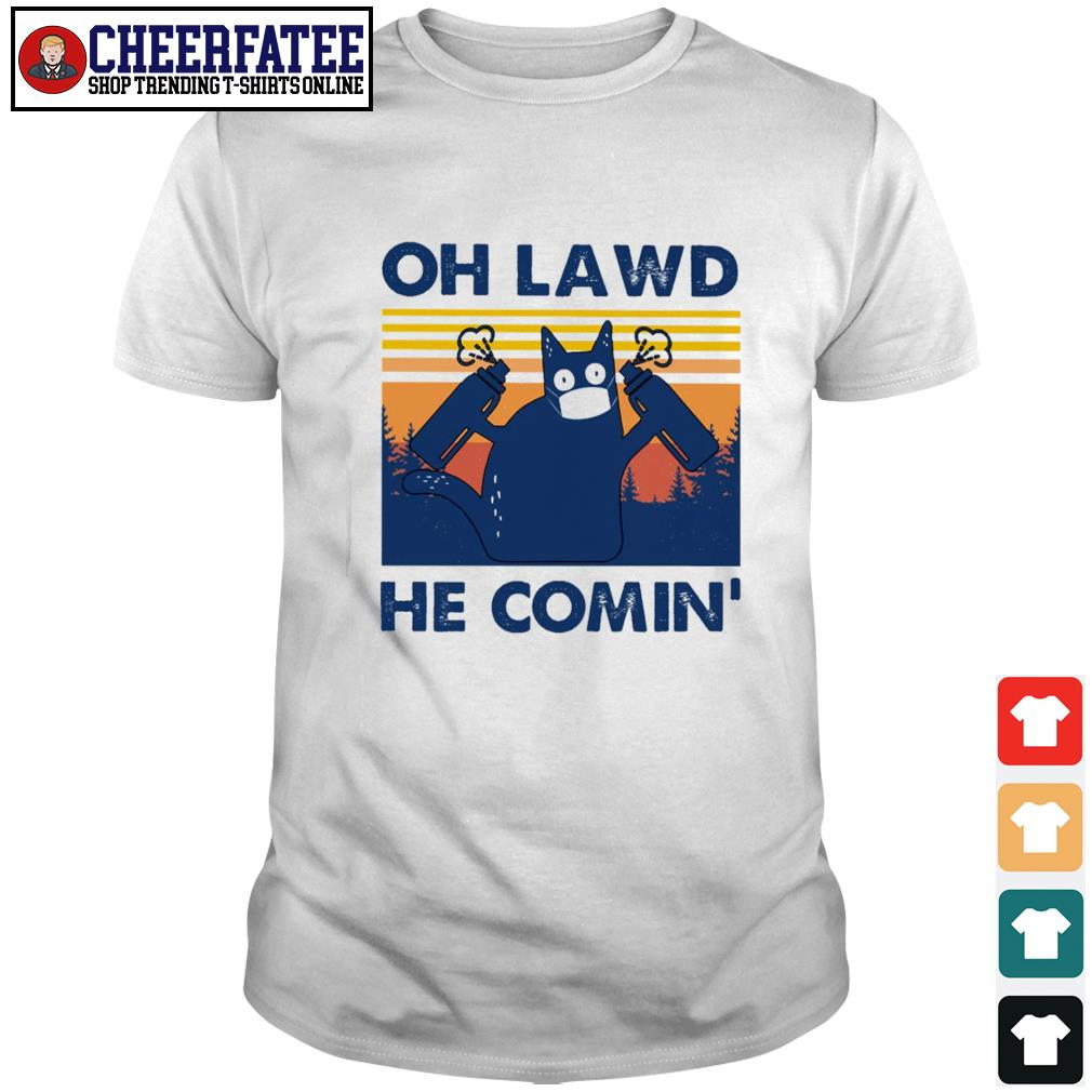 Cat mask oh lawd he comin' vintage shirt