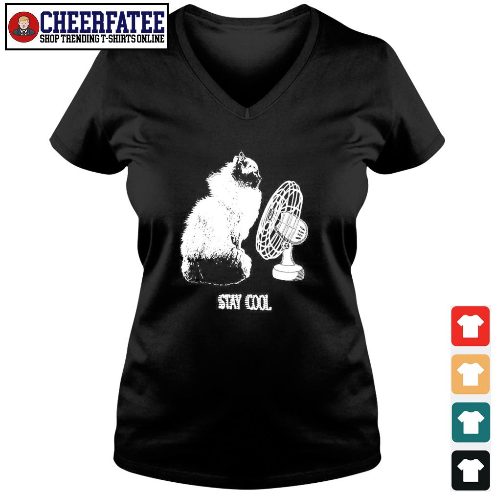 Cat stay cool electric fan s v-neck t-shirt