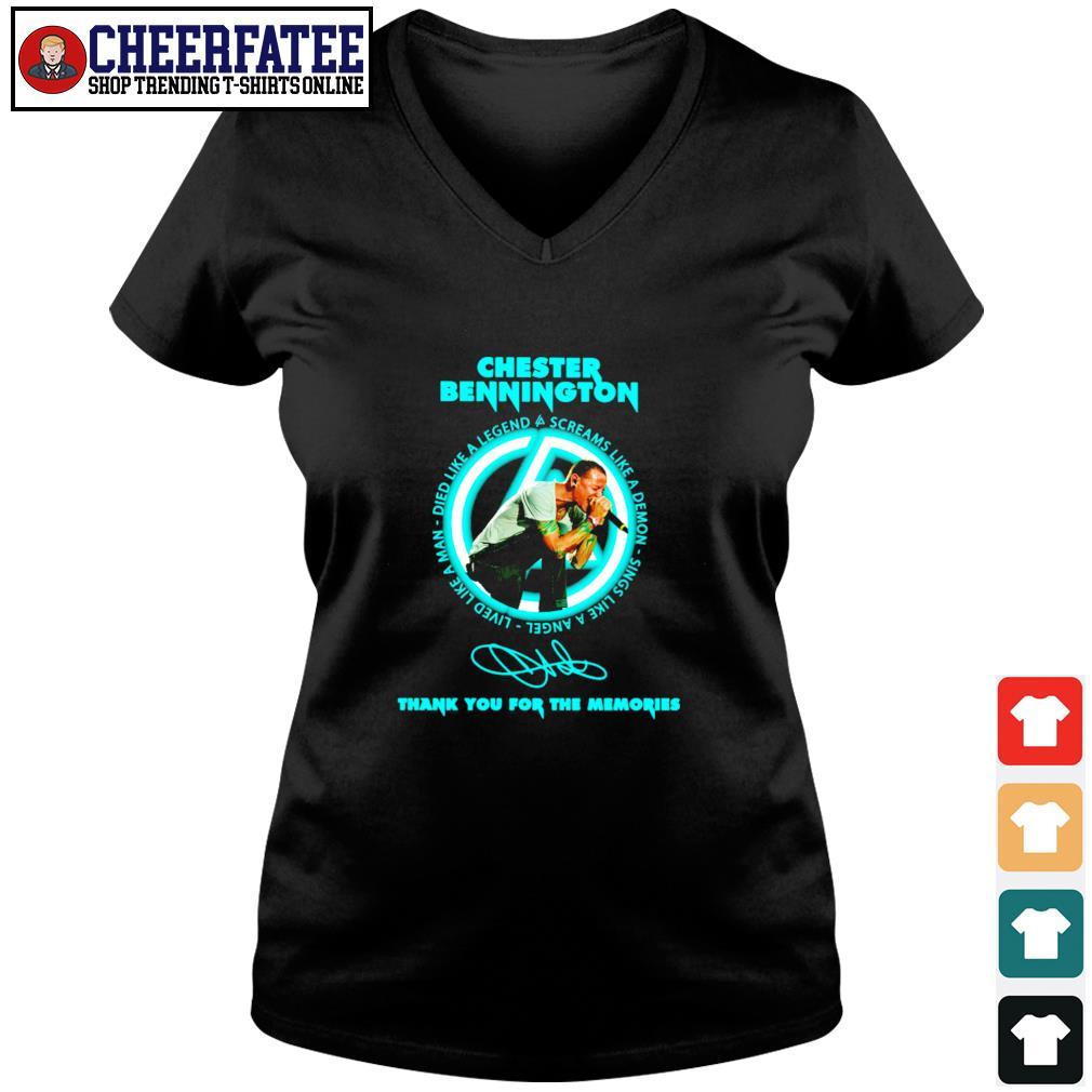 Chester bennington thank you for the memories signature s v-neck t-shirt