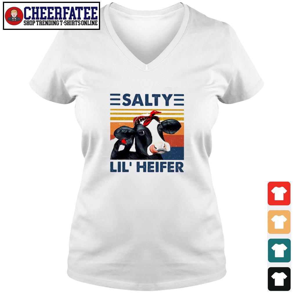 Cow salty lil' heifer vintage s v-neck t-shirt