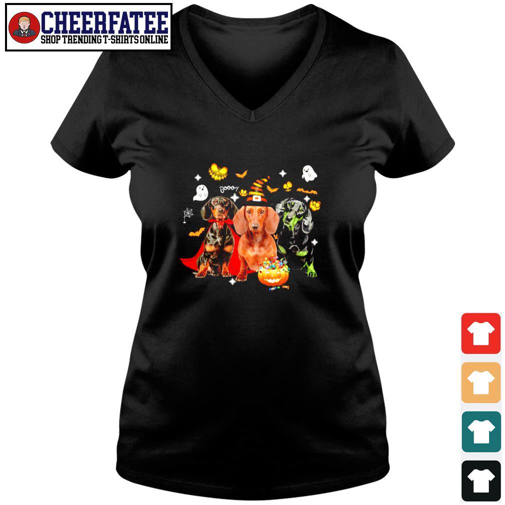 Dachshund ghost pumpkin halloween s v-neck t-shirt
