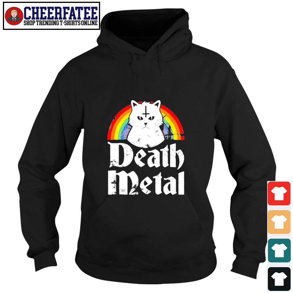 Death metal cat rainbow pride s hoodie