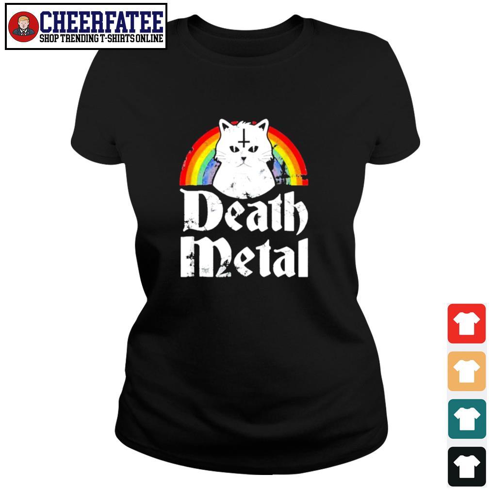 Death metal cat rainbow pride s ladies-tee