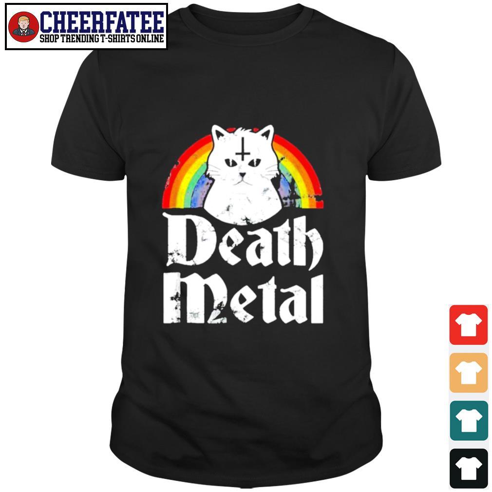 Death metal cat rainbow pride shirt