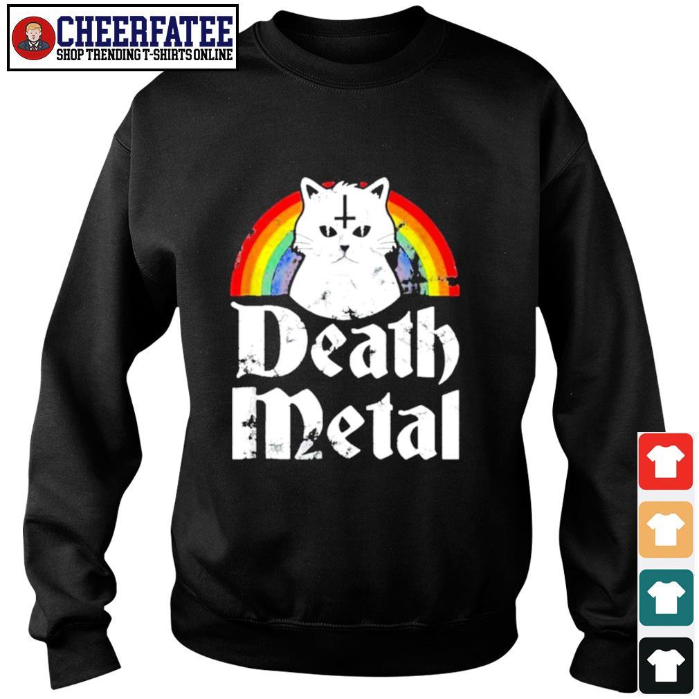 Death metal cat rainbow pride s sweater