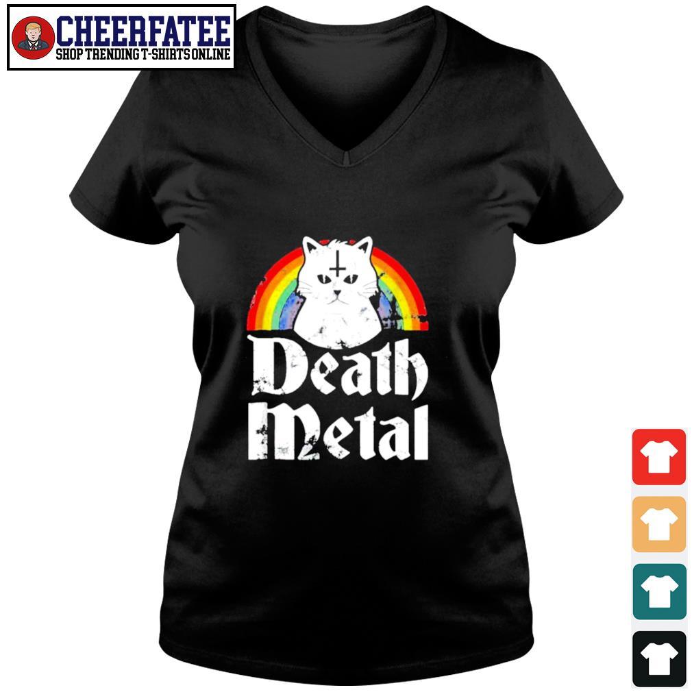 Death metal cat rainbow pride s v-neck t-shirt