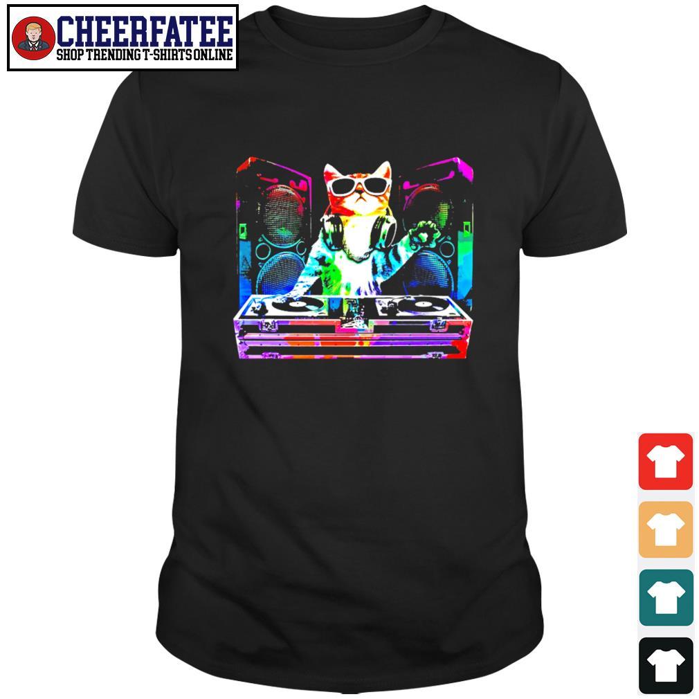 Dj cat music color shirt