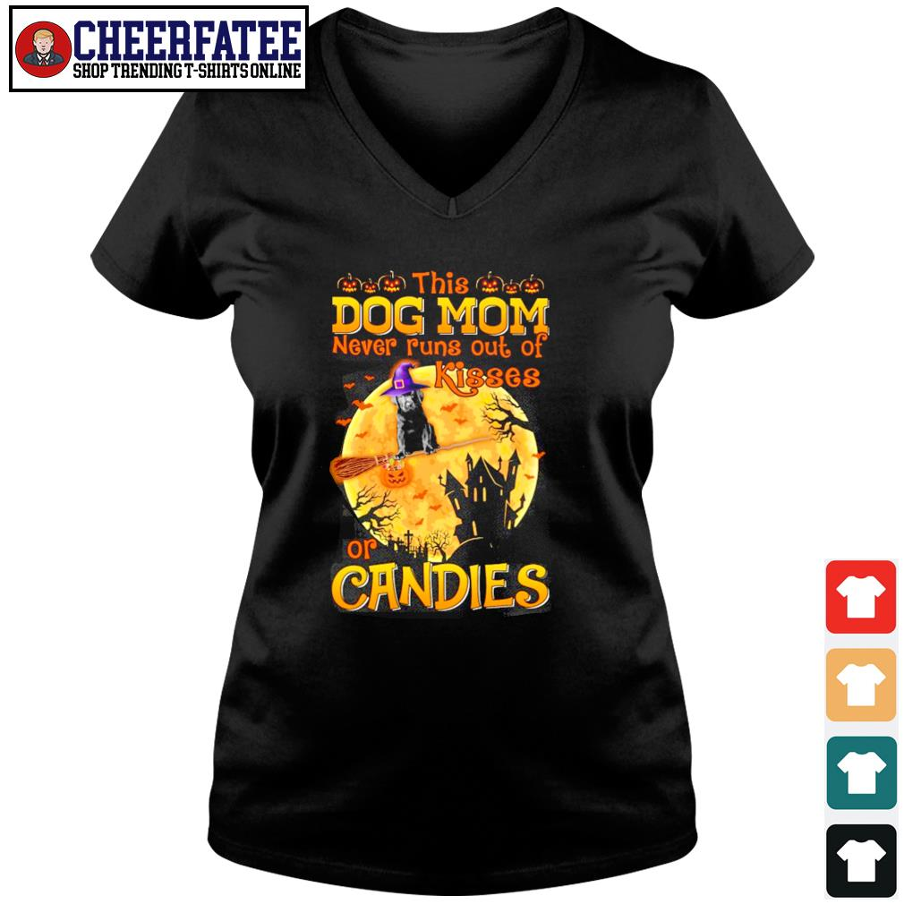 Dog mom never runs out of kisses or candies halloween s v-neck t-shirt