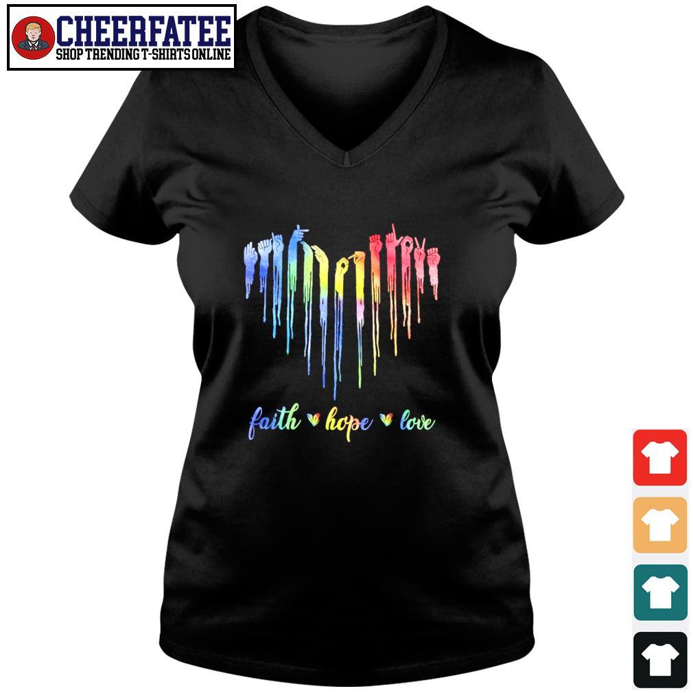 Faith hope love sign language s v-neck t-shirt