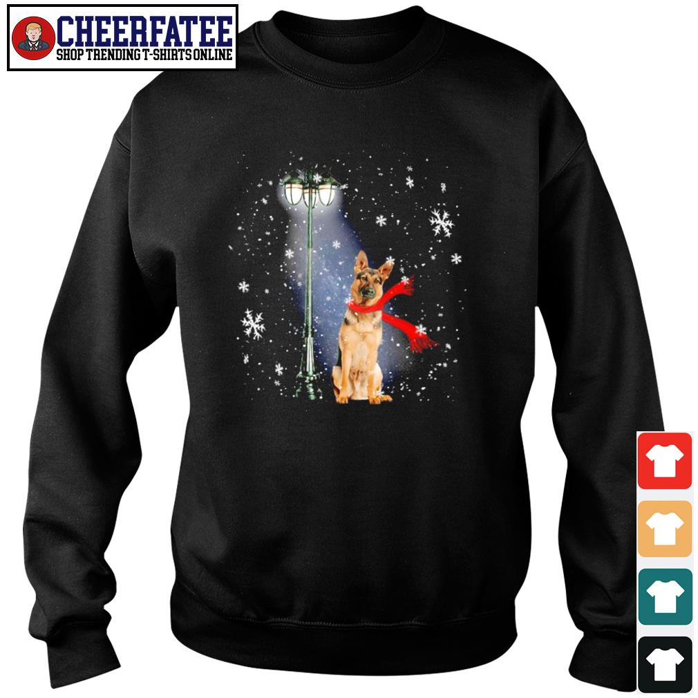 German shepherd waiting for the santa claus christmas s sweater