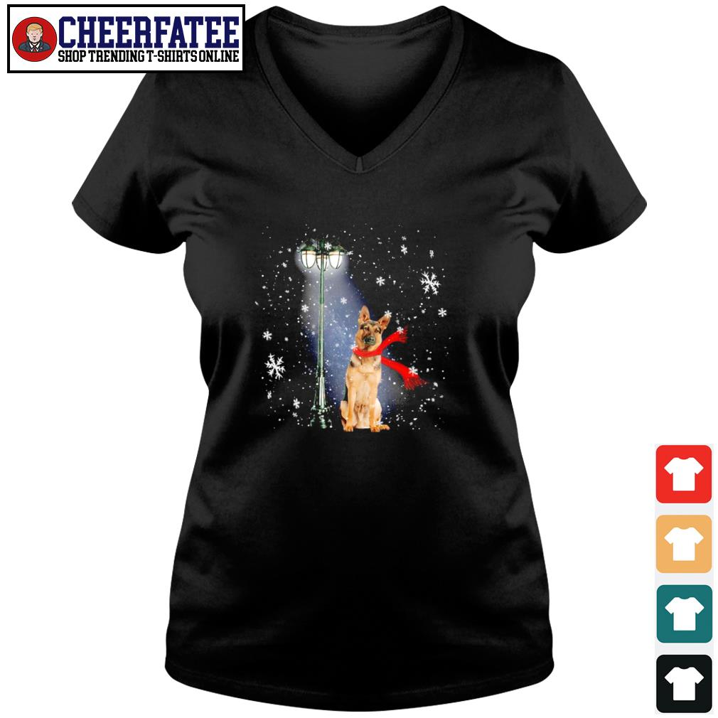 German shepherd waiting for the santa claus christmas s v-neck t-shirt