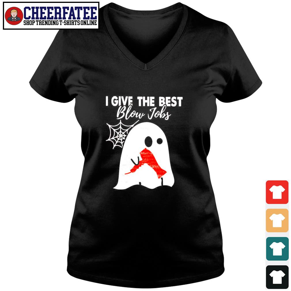 Ghost I give the best blow jobs hairdresser s v-neck t-shirt