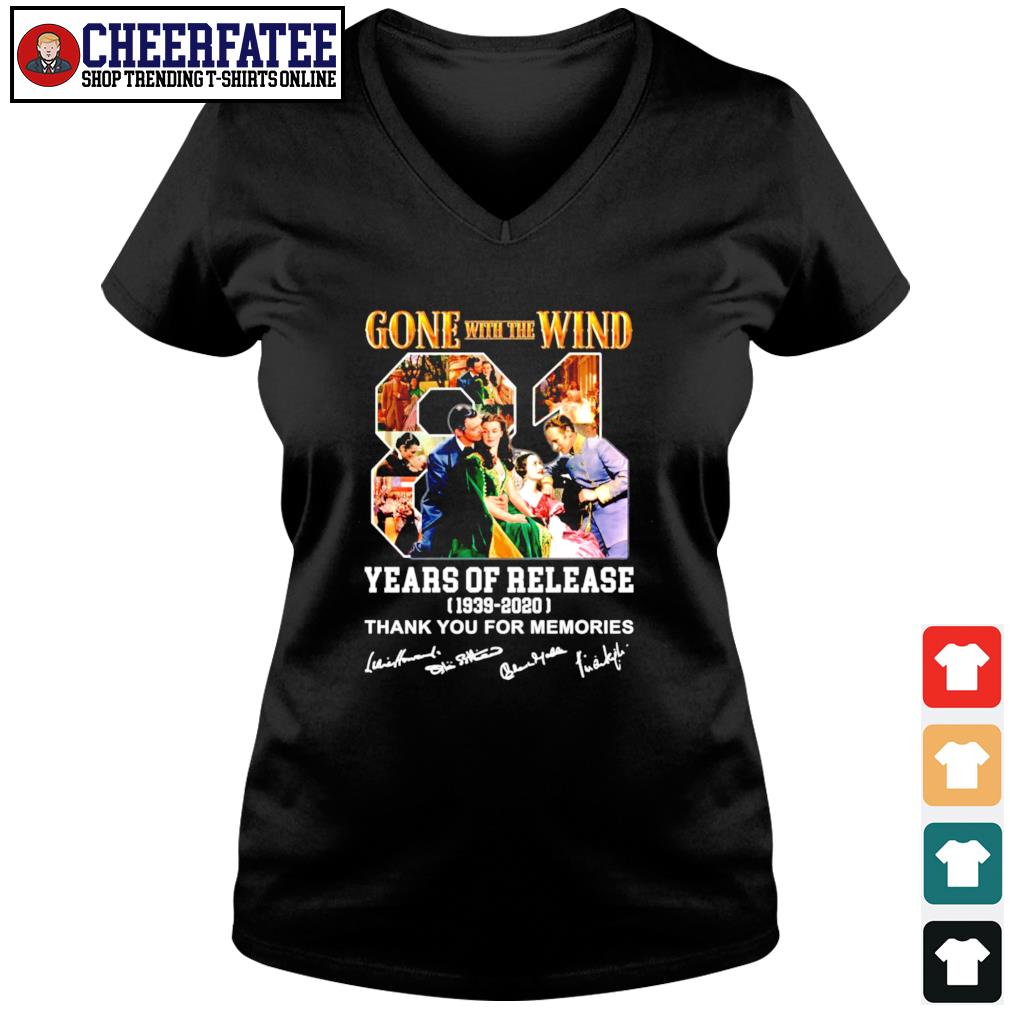 Gone with the wind 81 years of release 1939 2020 thank you for the memories signature s v-neck t-shirt