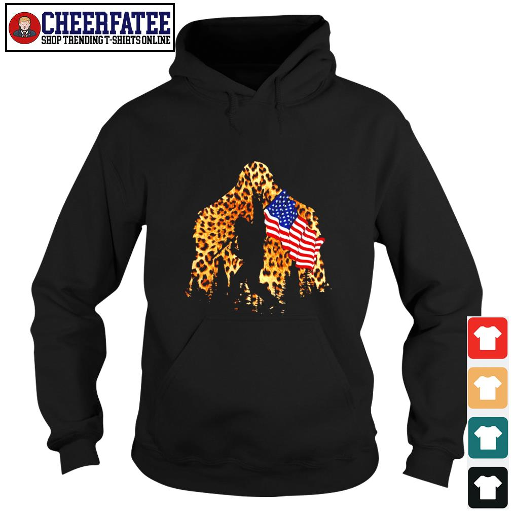 Leopard bigfoot rock and roll american flag s hoodie