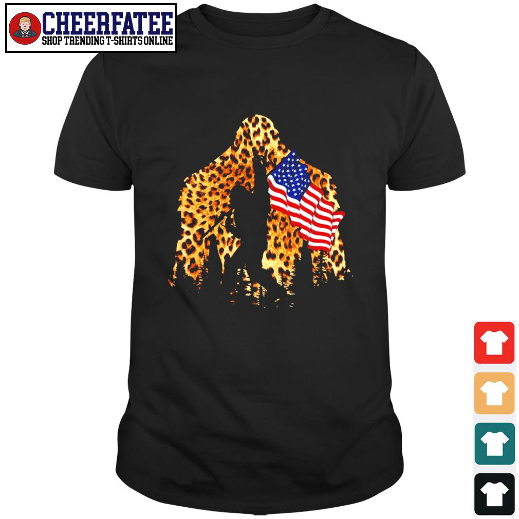 Leopard bigfoot rock and roll american flag shirt