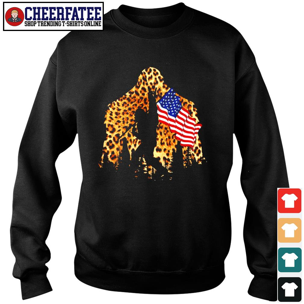 Leopard bigfoot rock and roll american flag s sweater
