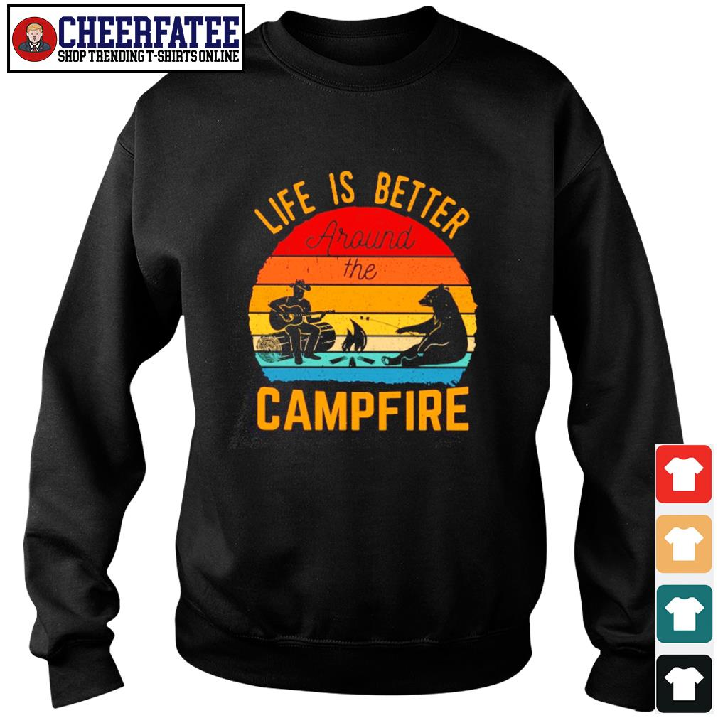 Life is better around the campfire vintage s sweater