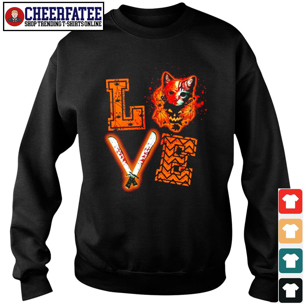 Love halloween jason voorhees cat s sweater