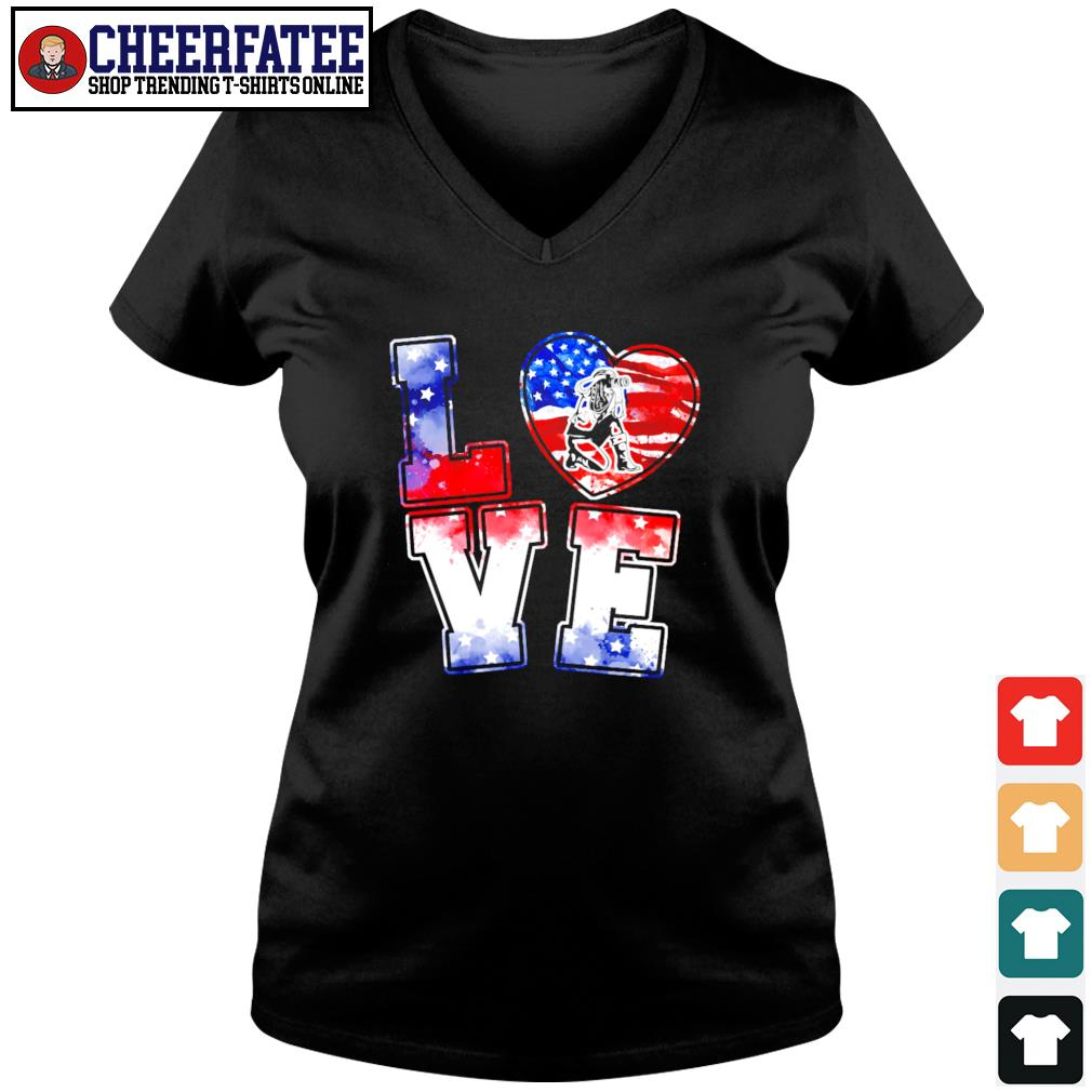 Love is USA american flag s v-neck t-shirt