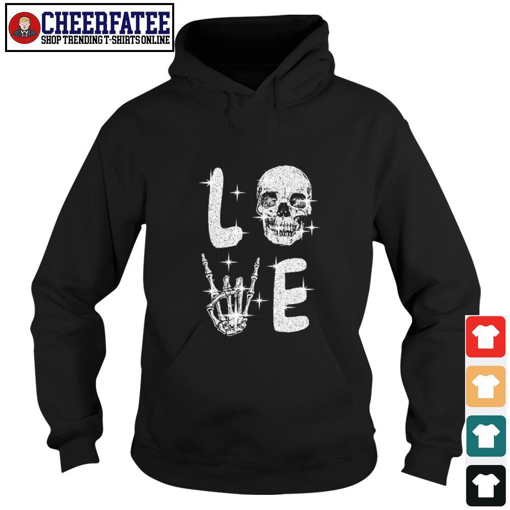 Love skull diamond rock and roll s hoodie