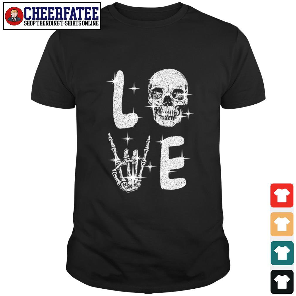 Love skull diamond rock and roll shirt