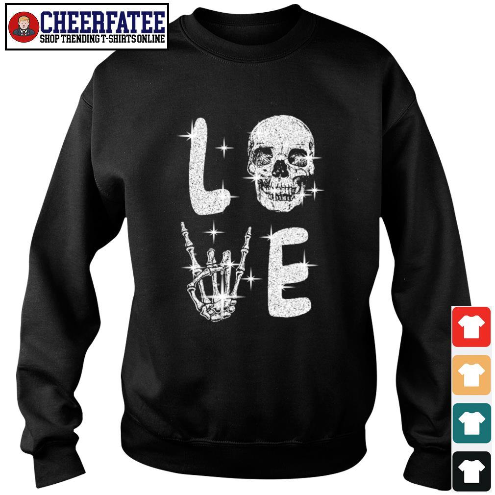 Love skull diamond rock and roll s sweater